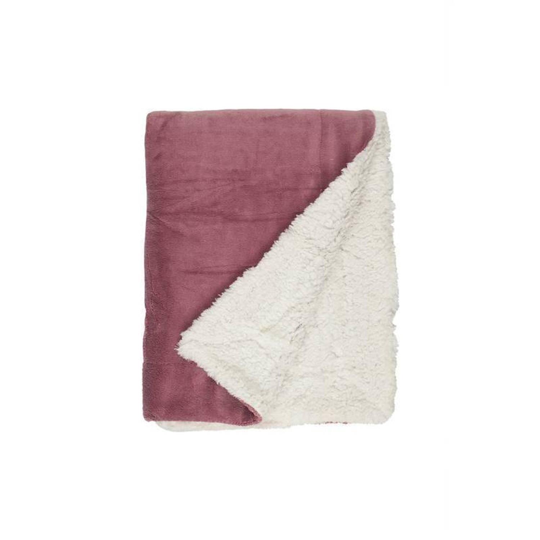 Unique Living Lars fleece plaid - 100% polyester, Fleece polyester - 150x200 cm - Roze, Mesa Rosa