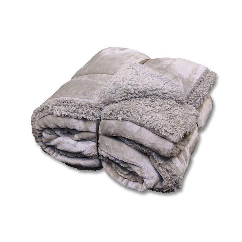 Unique Living Jonas fleece plaid - 100% polyester, Fleece polyester - 150x200 cm - Grijs
