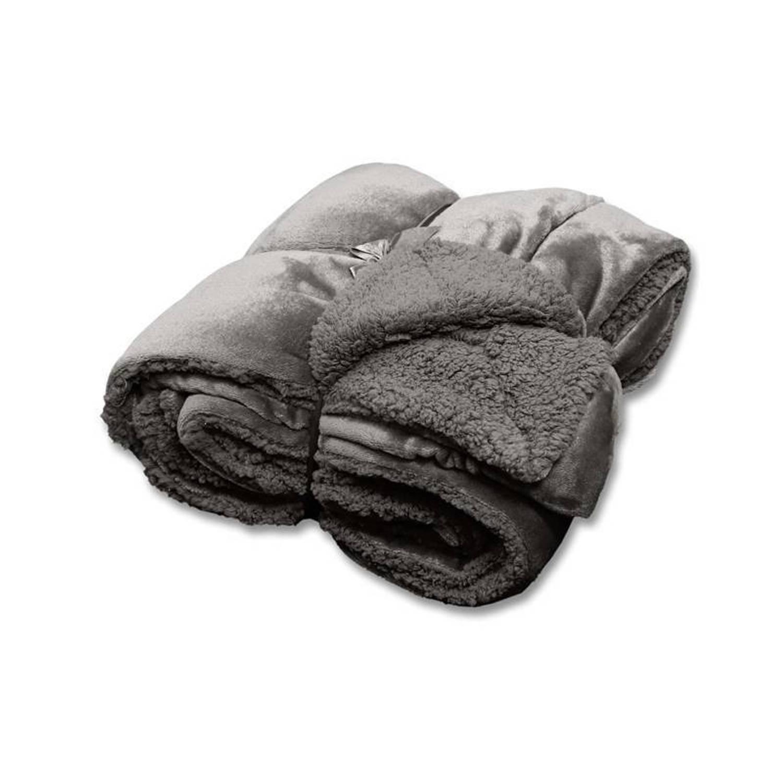 Unique Living Jonas fleece plaid - 100% polyester, Fleece polyester - 150x200 cm - Grijs, Dark grey