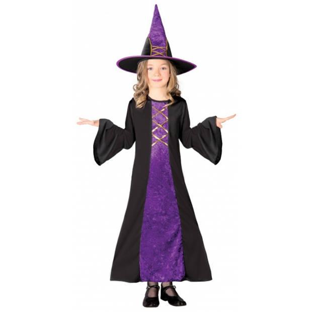 Paarse heksen jurk halloween kostuum kinderen 128-134 (7-9 jaar)