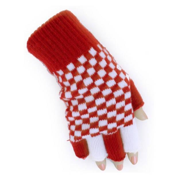 Vingerloze handschoenen rood/wit geblokt Branbant verkleed thema