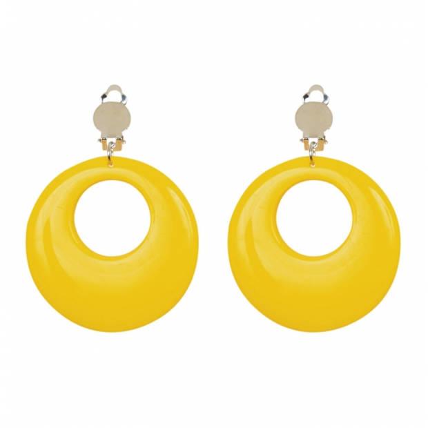 Disco oorbellen neon geel