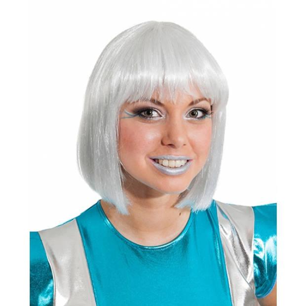 Damespruik met zilvergrijs haar