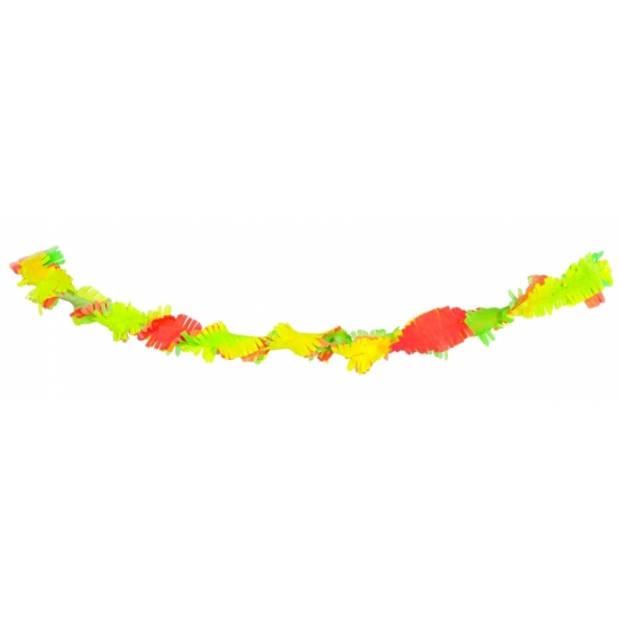 Neon gekleurde verjaardag feestslingers van 6 meter - Crepe papier feestartikelen/versiering