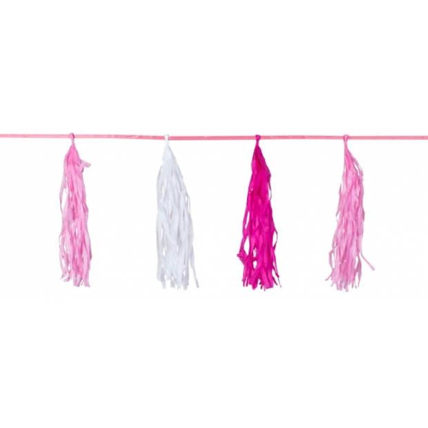Kwast tassel feestslingers roze 3 meter - Meisjes geboren feestartikelen versieringen
