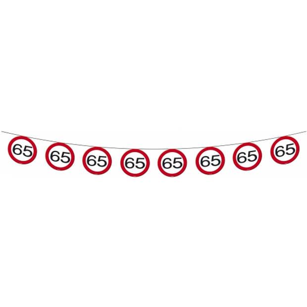 1x Vlaggenlijn versiering 65 jaar verkeersborden 10 meter
