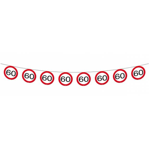 1x Vlaggenlijn versiering 60 jaar verkeersborden 10 meter