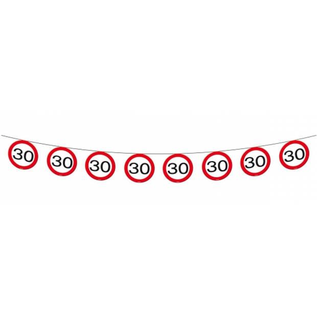 1x Vlaggenlijn versiering 30 jaar verkeersborden 10 meter
