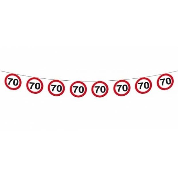 1x Vlaggenlijn versiering 70 jaar verkeersborden 10 meter