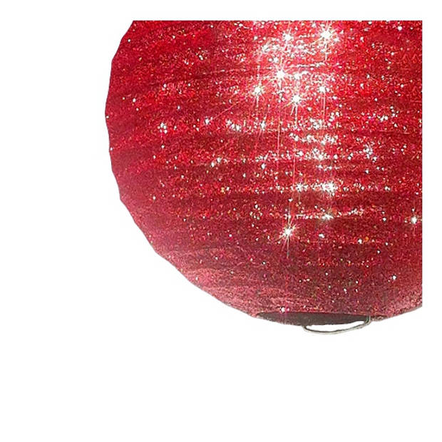 Rode lampion met glitters