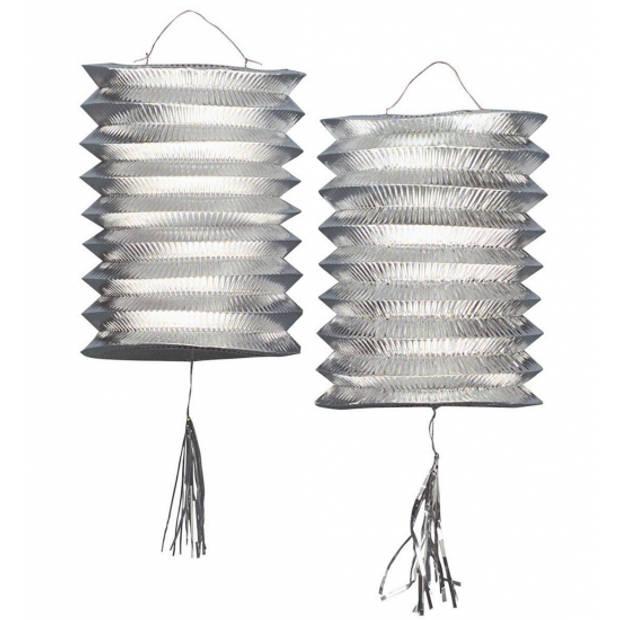 2x stuks metallic zilveren party lampionnen van 25 cm - Feestartikelen/versiering