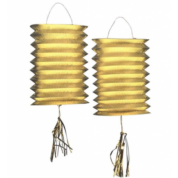 2x Metallic gouden lampionnen / lantaarns 25 cm - huis / tuinverlichting - feestdecoratie / versiering