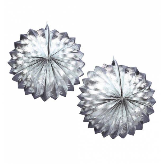 Metallic zilveren lampionnen 2x