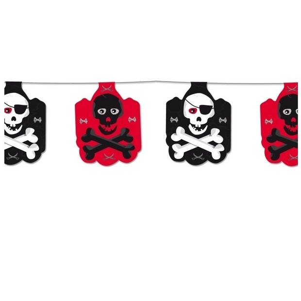 Piraten vlaggenlijn zwart/rood