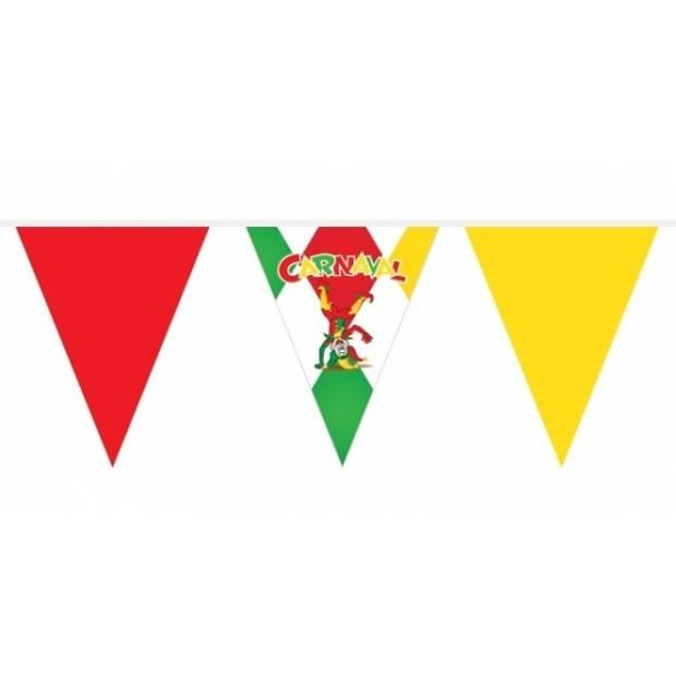 Carnaval versiering vlaggenlijn / slinger met nar - 10 meter - Rood geel groen