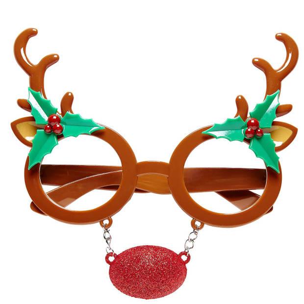 Rendier bril/feestbril accessoires - Kerst verkleedaccessoires - kerstbrillen