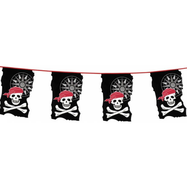 Piraten thema vlaggenlijnen doodshoofd 10 meter - Feestartikelen en versieirng