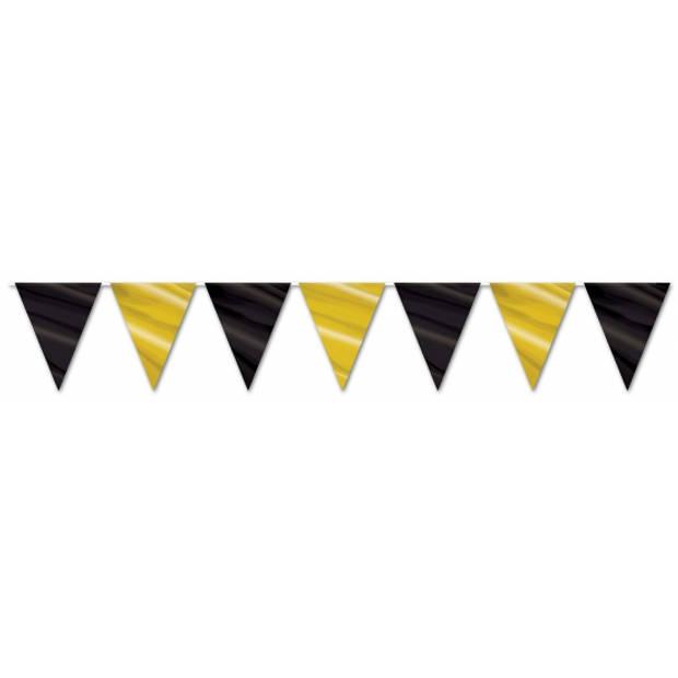 Vlaggenlijn zwart en goud 3,6 meter