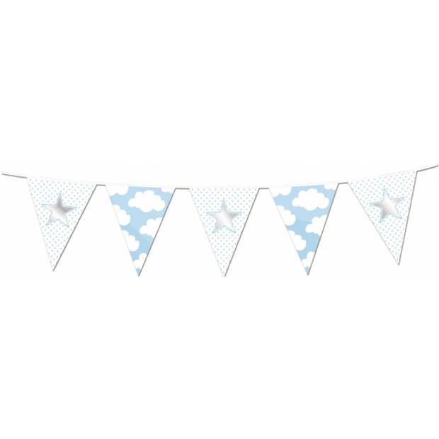 Vlaggenlijnen ster geboorte jongen 10 meter - Geboorte feestartikelen baby jongen blauw