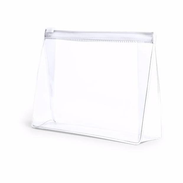 Mini toilettas/make-up etui wit 17 cm - Makeuptassen/Toilettassen - Make-up opbergen - Reis etui/Vliegtuig toilettasje