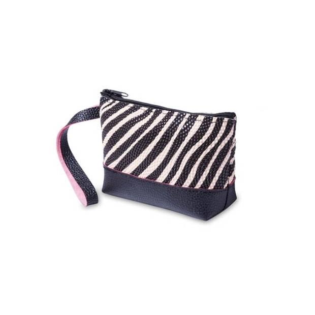 Toilettas/make-up etui zebra print zwart / creme 15 cm - Makeuptassen/Toilettassen - Make-up opbergen - Reis etui