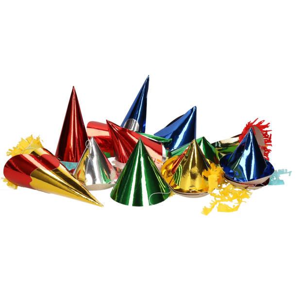 Papieren feesthoedjes 12 stuks voor kids - Feesthoedjes partymutsen verjaardagfeest