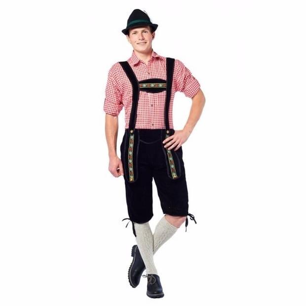 Oktoberfest - Voordelige zwarte lange lederhose voor heren 50 (M)