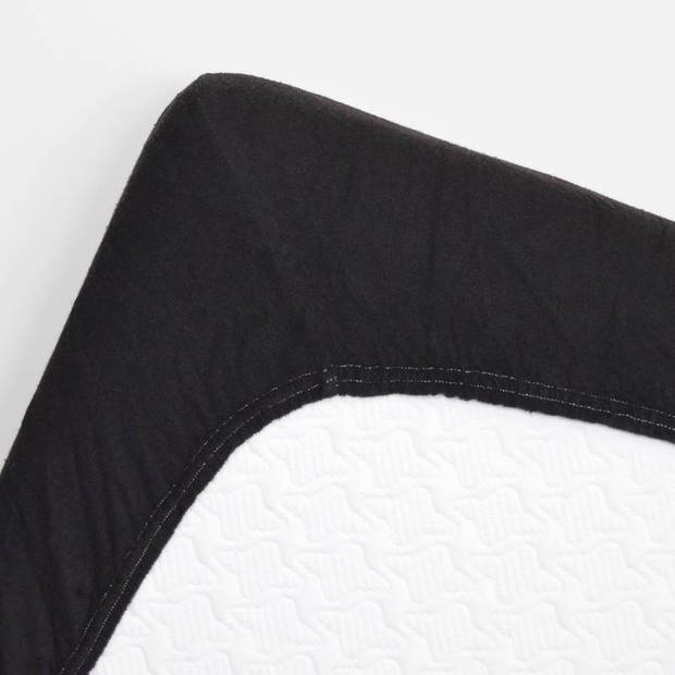 Snoozing badstof hoeslaken - 80% katoen - 20% polyester - Lits-jumeaux (160x210/220 of 180x200 cm) - Zwart