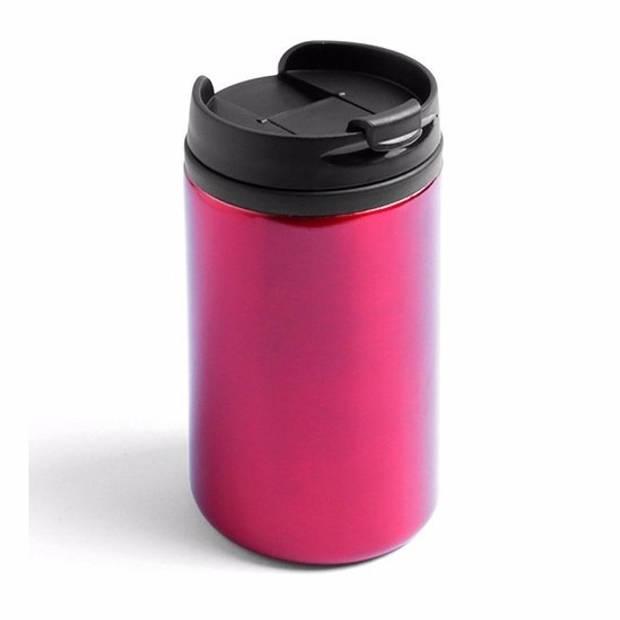Warmhoudbeker metallic/warm houd beker rood 320 ml - RVS Isoleerbeker/thermosbekers voor onderweg