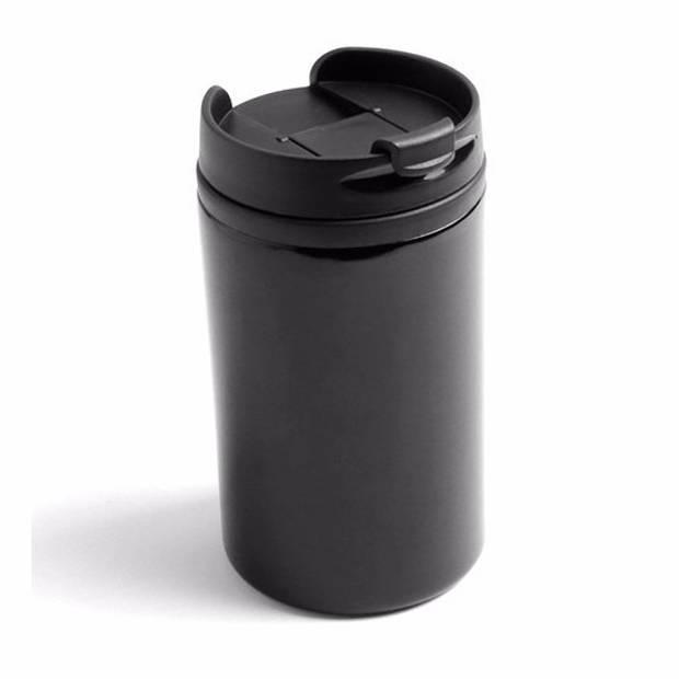 Warmhoudbeker/warm houd beker metallic zwart 320 ml - RVS Isoleerbeker/thermosbekers voor onderweg