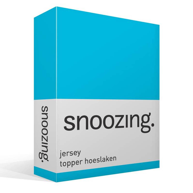 Snoozing jersey topper hoeslaken - 100% gebreide katoen - 2-persoons (120x200 cm) - Blauw, Turquoise