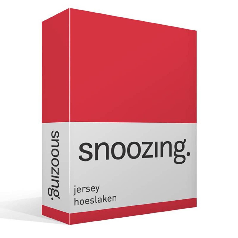 Snoozing jersey hoeslaken - 100% gebreide katoen - Lits-jumeaux (160x210/220 cm) - Rood