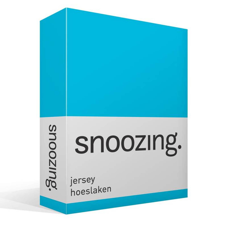 Snoozing jersey hoeslaken - 100% gebreide katoen - 2-persoons (120x200 cm) - Blauw, Turquoise