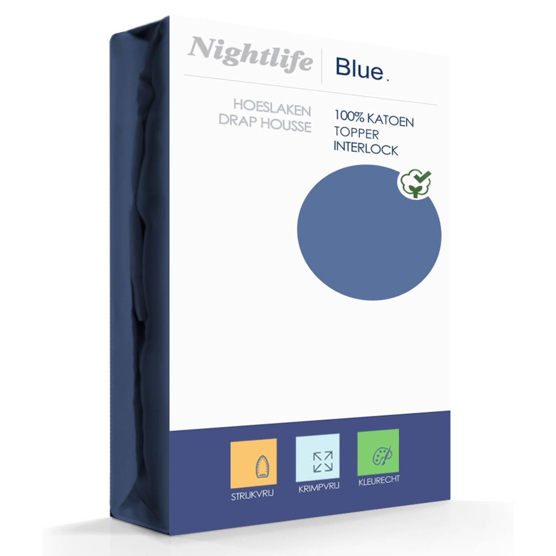 Nightlife Double Jersey Topper hoeslaken Blue-140/160 x 200/220 cm