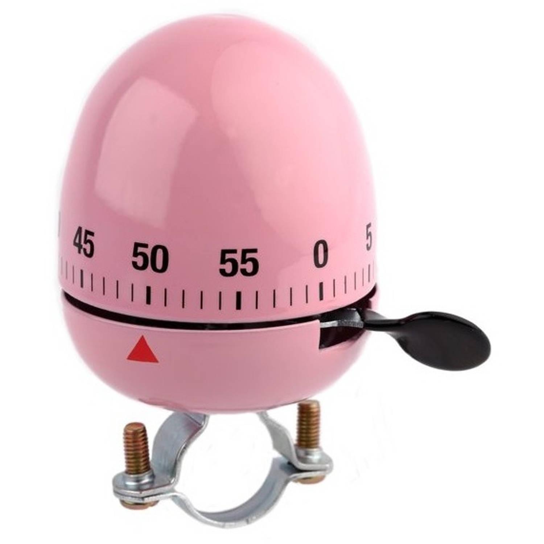 Niet Verkeerd fietsbel ei kookwekker 60 mm roze