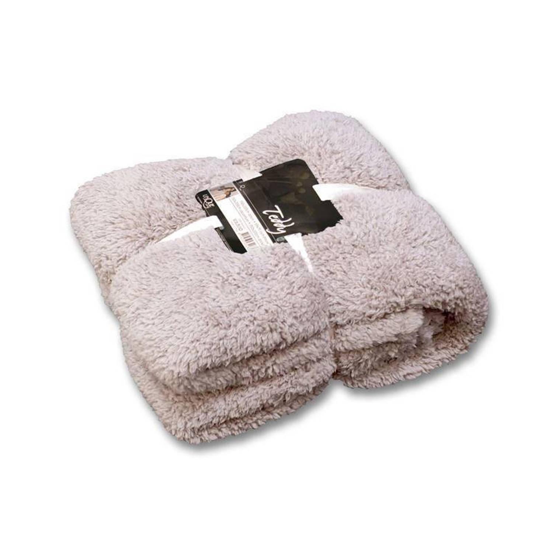 Unique Living Teddy fleece plaid - 100% polyester, Fleece polyester - 150x200 cm - Grijs, Pebble
