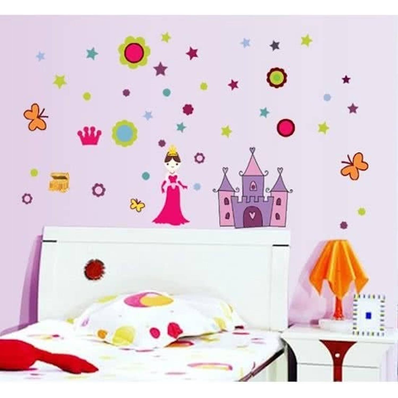 Moderne muursticker prinses met kasteel meisjes kasteel -