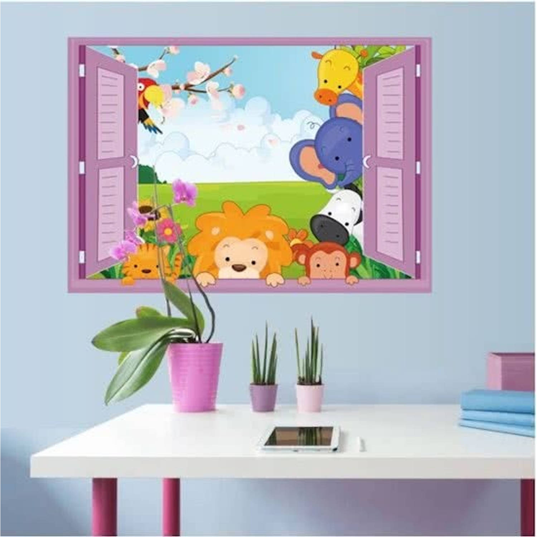 Moderne muursticker zachte kleuren raam leeuw olifant zebra