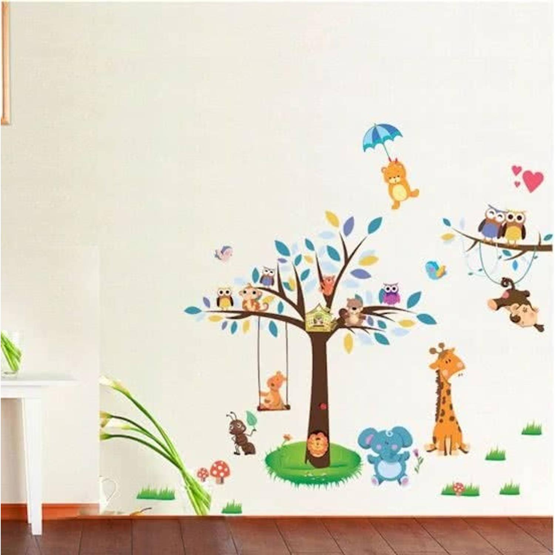 Moderne muursticker zachte kleuren boom olifant mier wasbeer