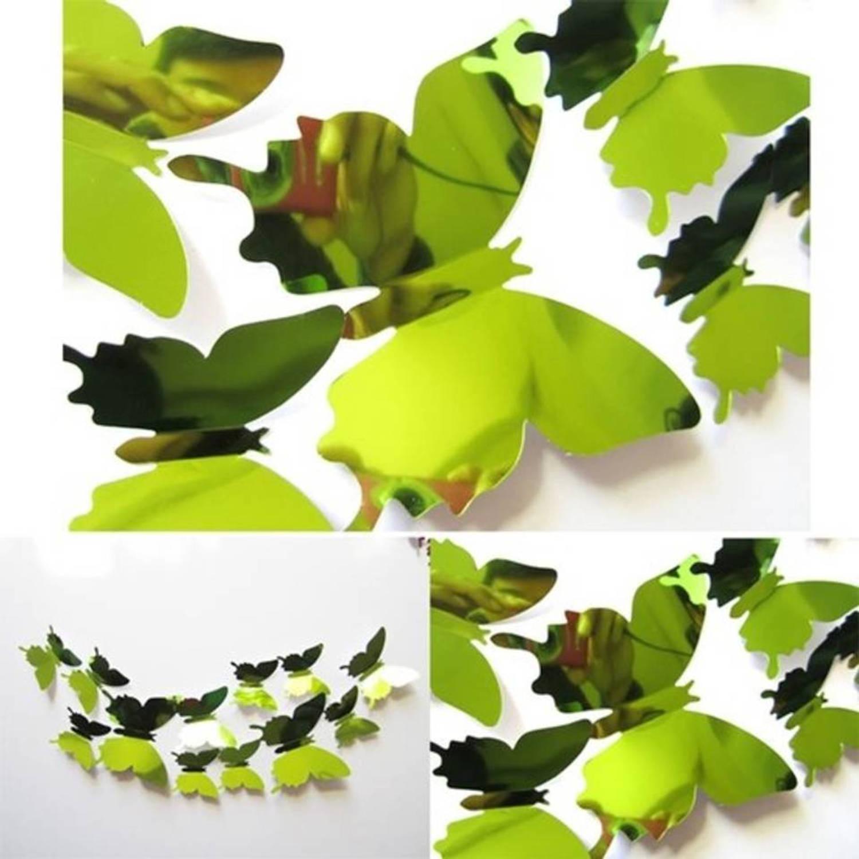 Premium spiegelende 3d vlinders muursticker-muurdecoratie voor