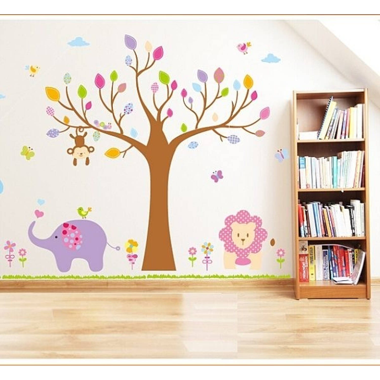 Vrolijke premium prachtige muursticker boom met dieren xl olifant aap