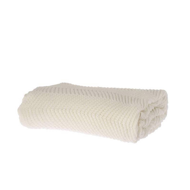 Riverdale Zigzag plaid - 100% acryl - 150x180 cm - Wit