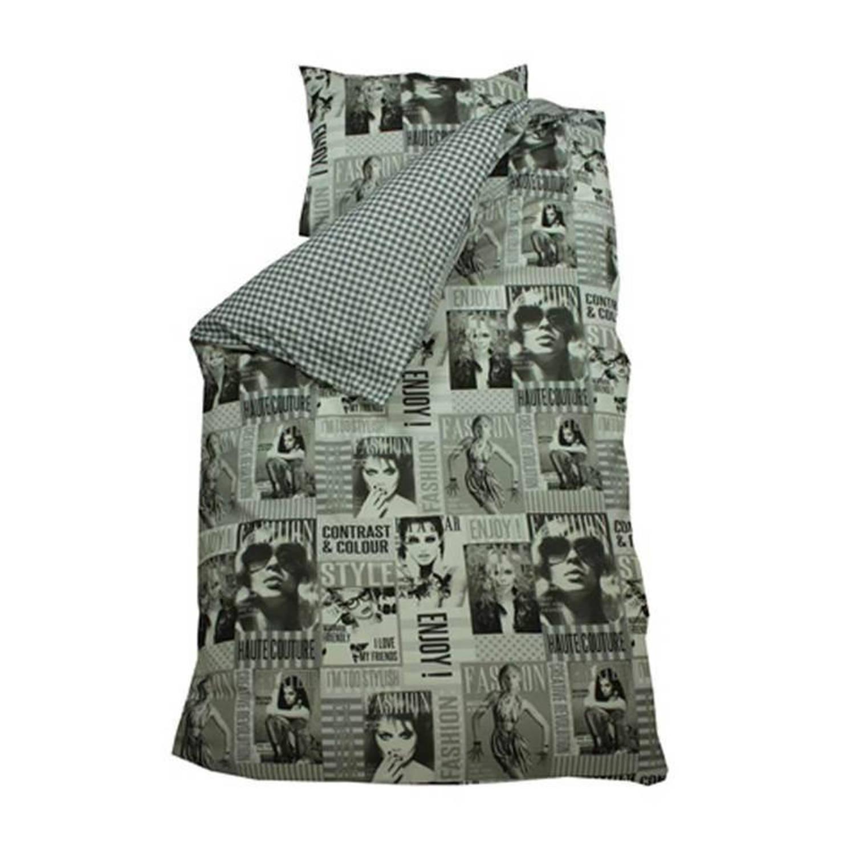 BINK Bedding Fashion dekbedovertrek - 100% katoen - Junior (120x150 cm + 1 sloop) - 1 stuk (60x70 cm) - Grijs
