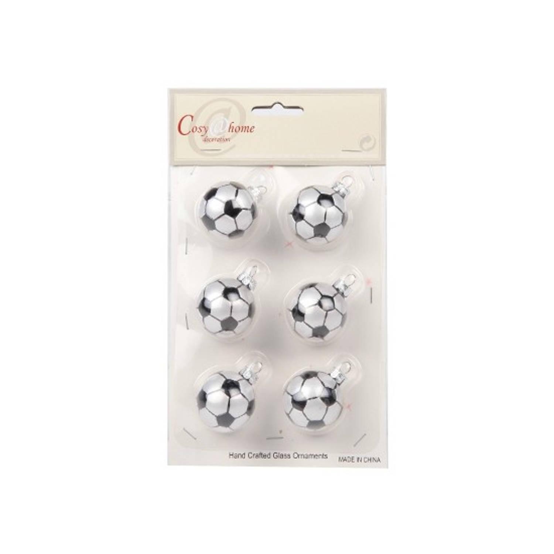 Kerstballen met voetbalprint 6 stuks