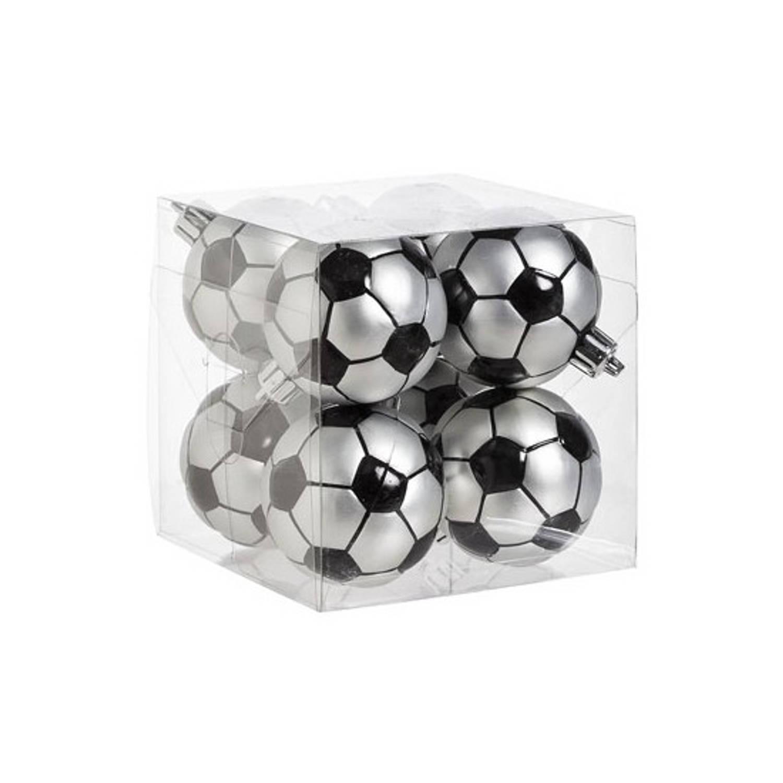 Kerstballen met voetbalprint 8 stuks