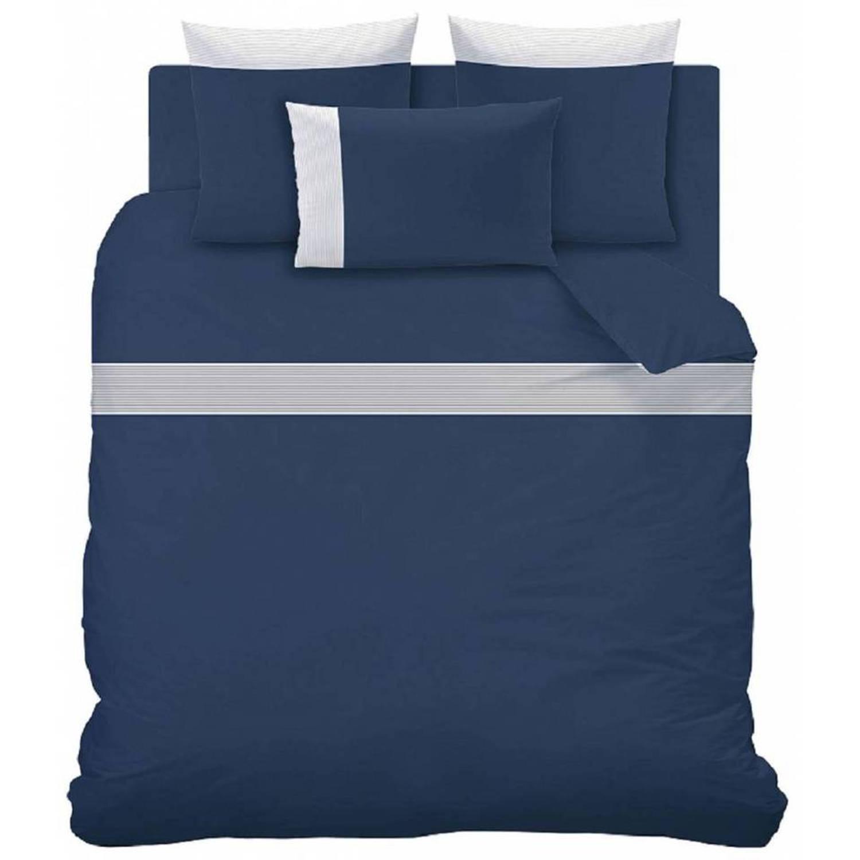 Matt & rose plissé tendance - dekbedovertrek - hotelformaat - 260 x 240 cm - blauw - inclusief 2 kussenslopen