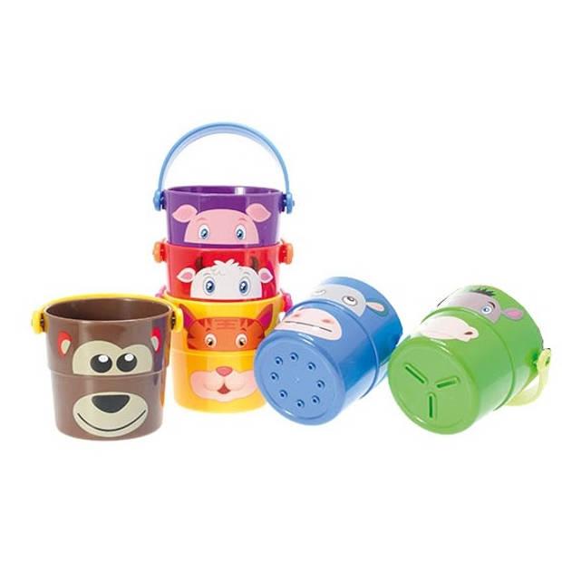 Toi-Toys stapelemmers met dieren 6 stuks 7 cm