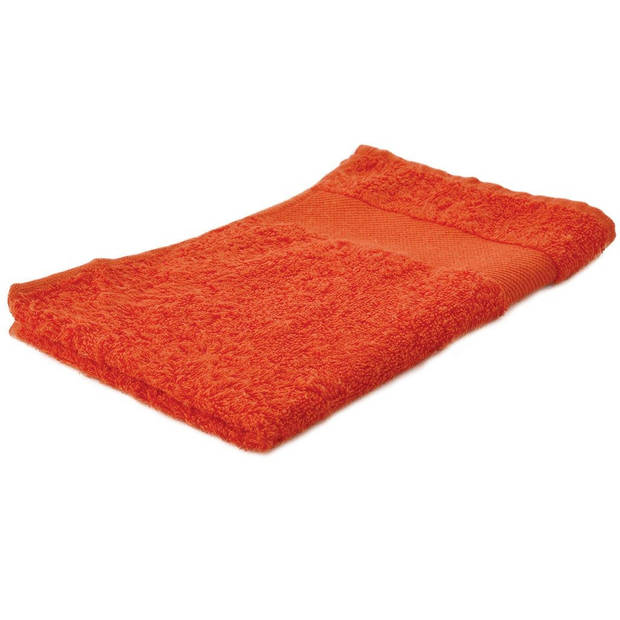 Arowell gastendoek gastenhanddoek 50 x 30 cm - 500 gram - oranje - 3 stuks