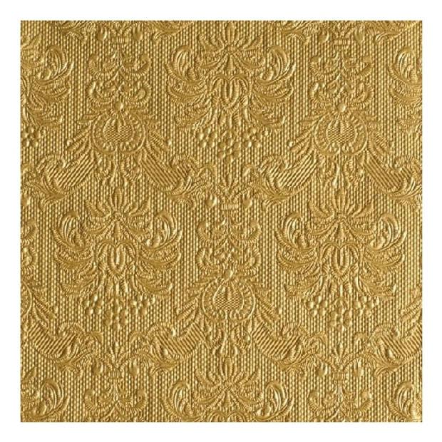 15x stuks luxe tafel servetten barok patroon goud 3-laags