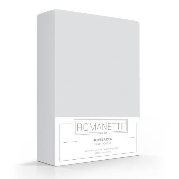 Romanette Hoeslaken Katoen Lichtgrijs-160 x 220 cm